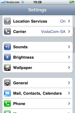 screenshot of phone with restrictions menu